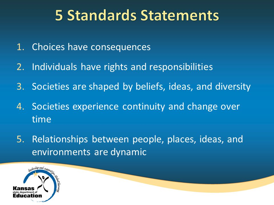 1.Choices have consequences 2.Individuals have rights and responsibilities 3.Societies are shaped by beliefs, ideas, and diversity 4.Societies experience continuity and change over time 5.Relationships between people, places, ideas, and environments are dynamic