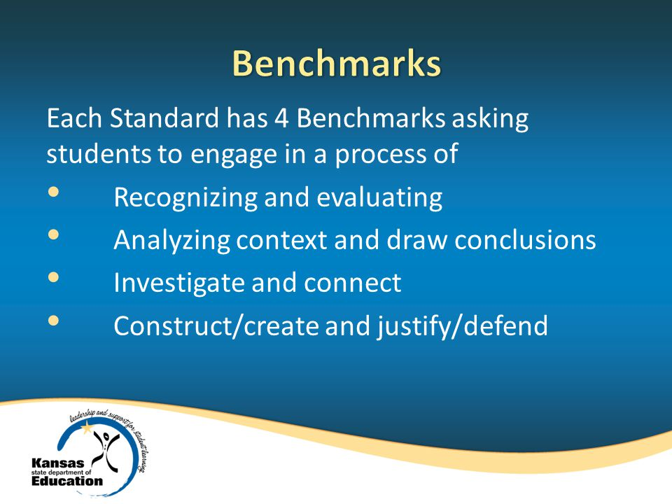 Each Standard has 4 Benchmarks asking students to engage in a process of Recognizing and evaluating Analyzing context and draw conclusions Investigate and connect Construct/create and justify/defend