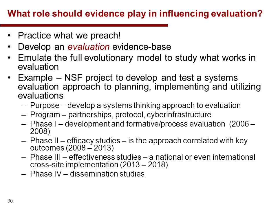 What role should evidence play in influencing evaluation? Practice what we preach! Develop an evaluation evidence-base Emulate the full evolutionary m