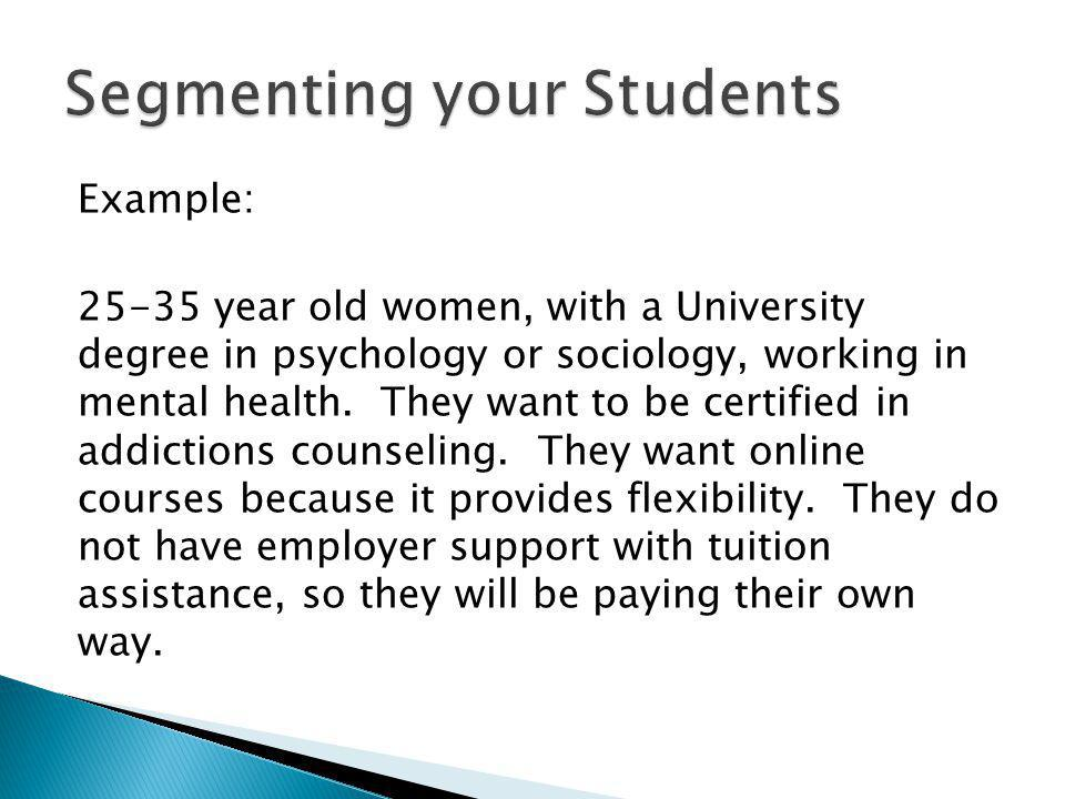 Example: 25-35 year old women, with a University degree in psychology or sociology, working in mental health.