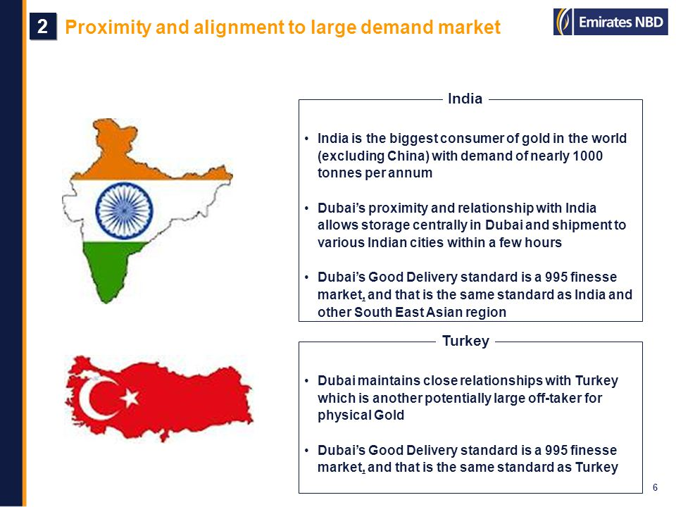 Proximity and alignment to large demand market 6 2 2 India is the biggest consumer of gold in the world (excluding China) with demand of nearly 1000 t