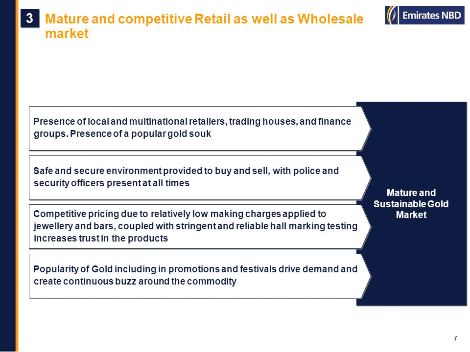 Holistic presence across the value chain 8 4 4 Wholesale Distribution Retail Distribution Primarily scrap refining - has led to a significant growth in volumes and international acceptance of the goods from Dubai based refineries, namely Emirates Gold and Kaloti Refining Wholesale distributing companies like Bin Sabt Jewellers, INTL FC Stone and Swiss Gold These companies operate both in the domestic and international arena, thereby extending and expanding Dubais capabilities to a global platform Wholesale distributing companies like Bin Sabt Jewellers, INTL FC Stone and Swiss Gold These companies operate both in the domestic and international arena, thereby extending and expanding Dubais capabilities to a global platform Niche local retailers as well as multinationals like Damas, Joyalukkas, Sky Jewellery and Malabar Gold