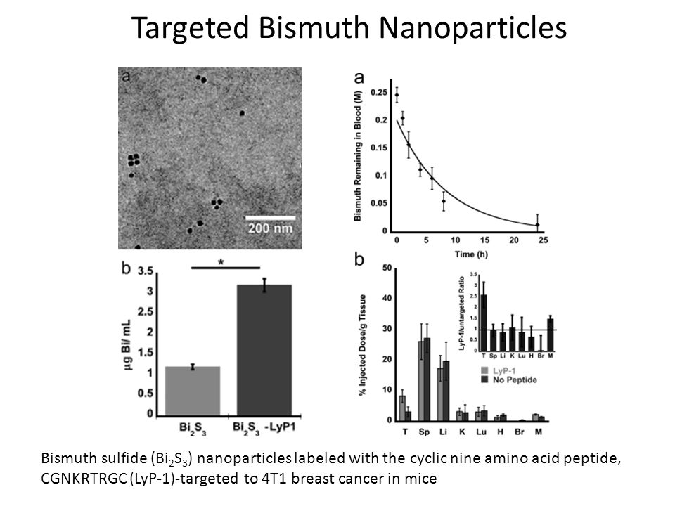 Bismuth sulfide (Bi 2 S 3 ) nanoparticles labeled with the cyclic nine amino acid peptide, CGNKRTRGC (LyP-1)-targeted to 4T1 breast cancer in mice Tar