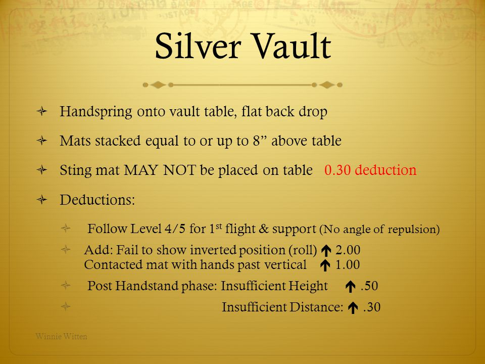 Silver Vault Handspring onto vault table, flat back drop Mats stacked equal to or up to 8 above table Sting mat MAY NOT be placed on table 0.30 deduct