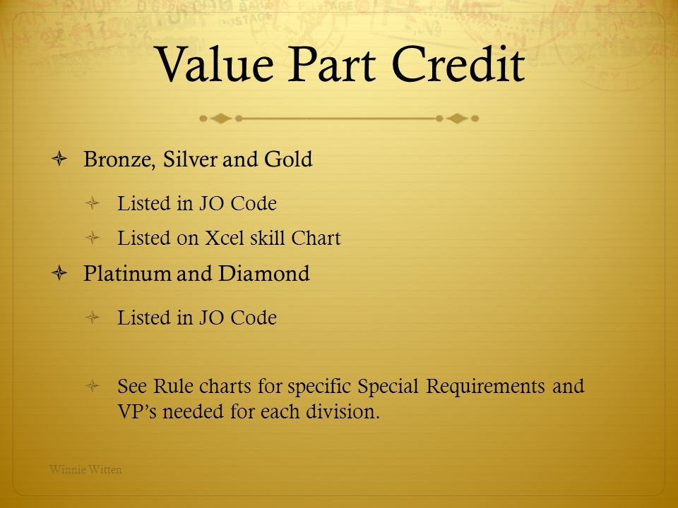 Bars Extra Swing Not taken EVER for Bronze, Silver, Gold Platinum and Diamond are deducted – Max 0.60 Casts Cast Deductions – Refer to Chart in Xcel Handbook No JO Cast Deductions in any division Platinum and Diamond Angle of cast determines VP – 0, A, B, Winnie Witten