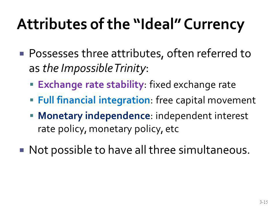 Possesses three attributes, often referred to as the Impossible Trinity: Exchange rate stability: fixed exchange rate Full financial integration: free