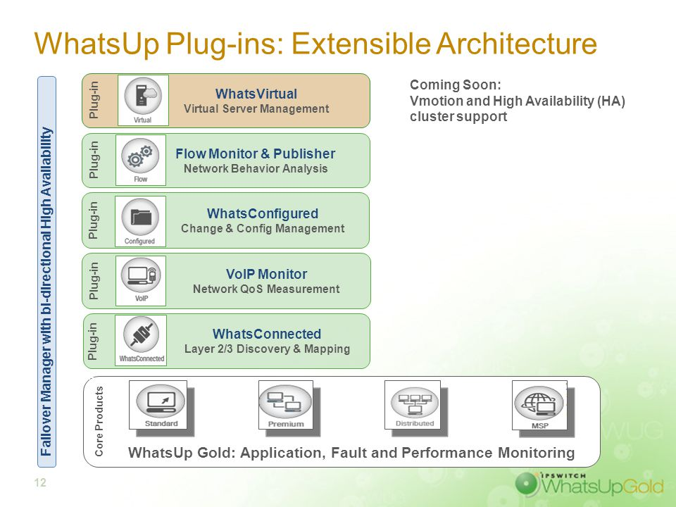 12 WhatsUp Plug-ins: Extensible Architecture WhatsUp Gold: Application, Fault and Performance Monitoring Core Products VoIP Monitor Network QoS Measur