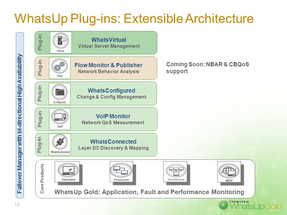 18 WhatsUp Plug-ins: Extensible Architecture WhatsUp Gold: Application, Fault and Performance Monitoring Core Products VoIP Monitor Network QoS Measur