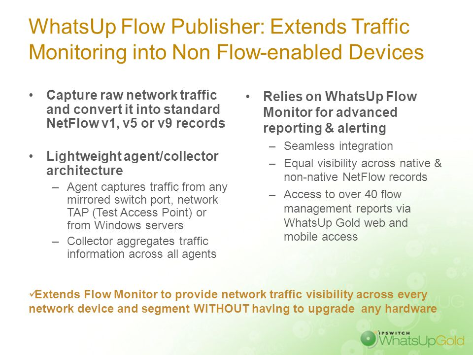 WhatsUp Flow Publisher: Extends Traffic Monitoring into Non Flow-enabled Devices Capture raw network traffic and convert it into standard NetFlow v1,