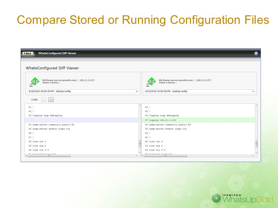 Compare Stored or Running Configuration Files