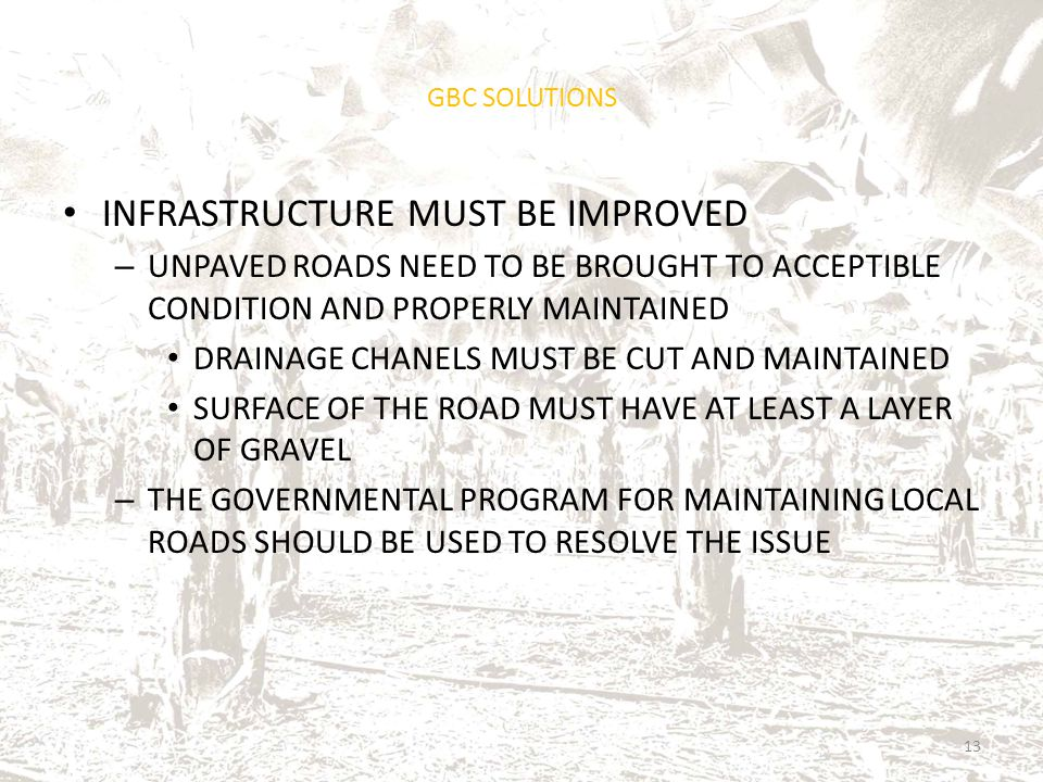 GBC SOLUTIONS INFRASTRUCTURE MUST BE IMPROVED – UNPAVED ROADS NEED TO BE BROUGHT TO ACCEPTIBLE CONDITION AND PROPERLY MAINTAINED DRAINAGE CHANELS MUST