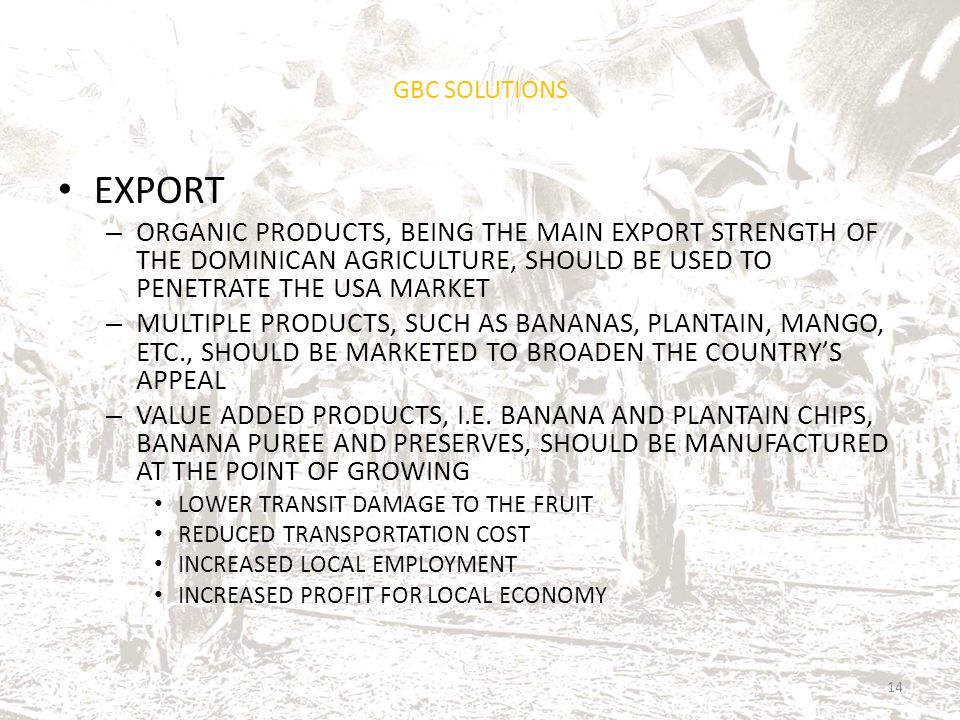 GBC SOLUTIONS EXPORT – ORGANIC PRODUCTS, BEING THE MAIN EXPORT STRENGTH OF THE DOMINICAN AGRICULTURE, SHOULD BE USED TO PENETRATE THE USA MARKET – MUL