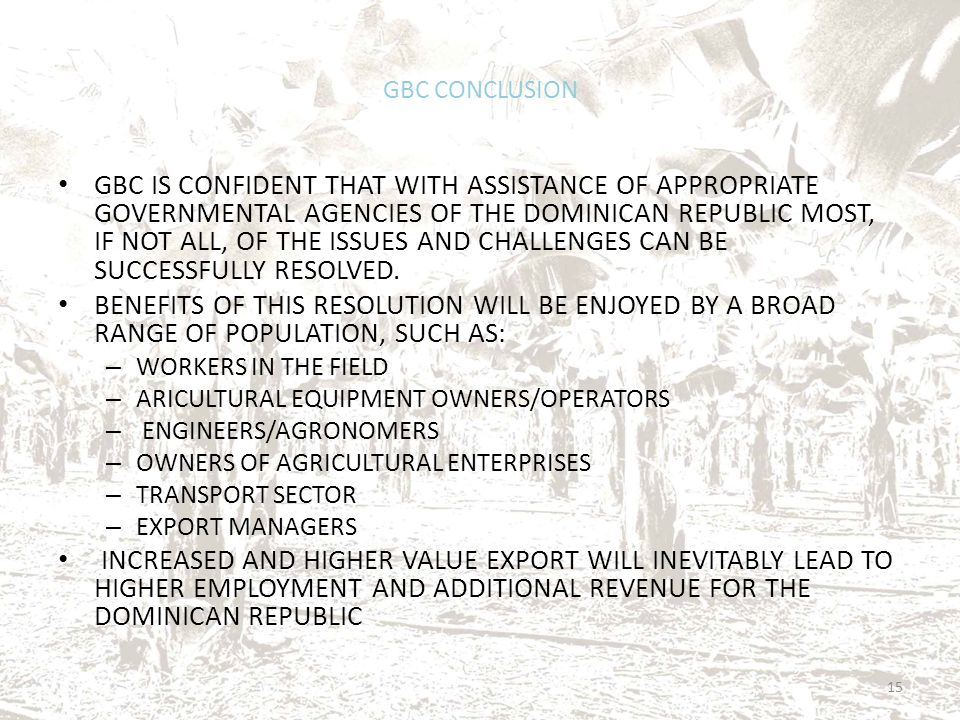 GBC CONCLUSION GBC IS CONFIDENT THAT WITH ASSISTANCE OF APPROPRIATE GOVERNMENTAL AGENCIES OF THE DOMINICAN REPUBLIC MOST, IF NOT ALL, OF THE ISSUES AN