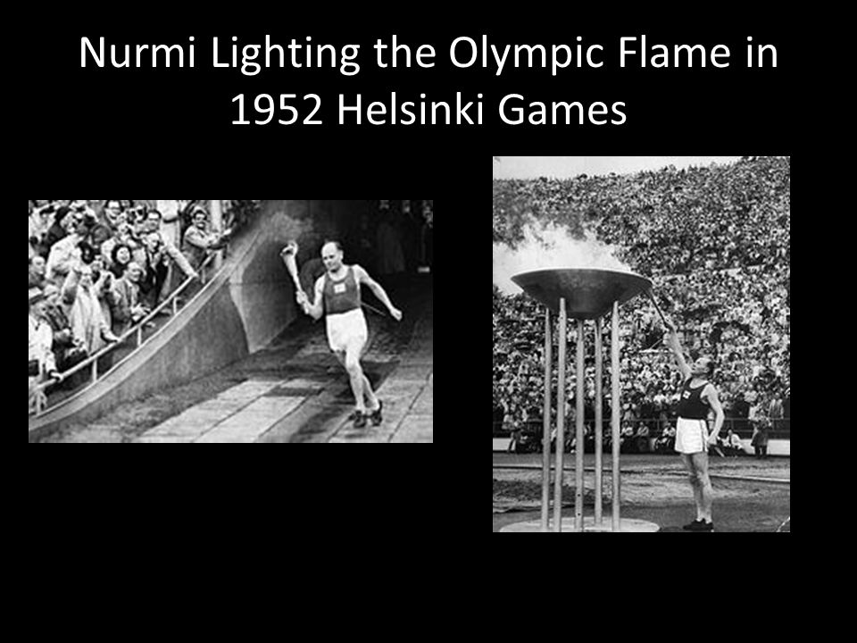 Nurmi Lighting the Olympic Flame in 1952 Helsinki Games