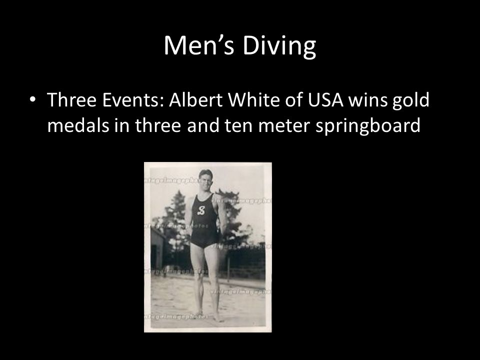 Mens Diving Three Events: Albert White of USA wins gold medals in three and ten meter springboard