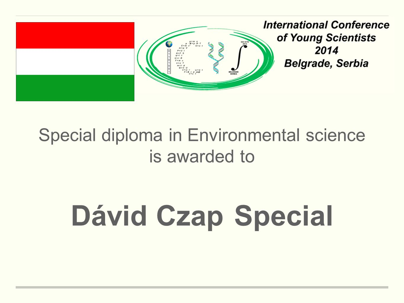 Special diploma in Environmental science is awarded to Dávid CzapSpecial