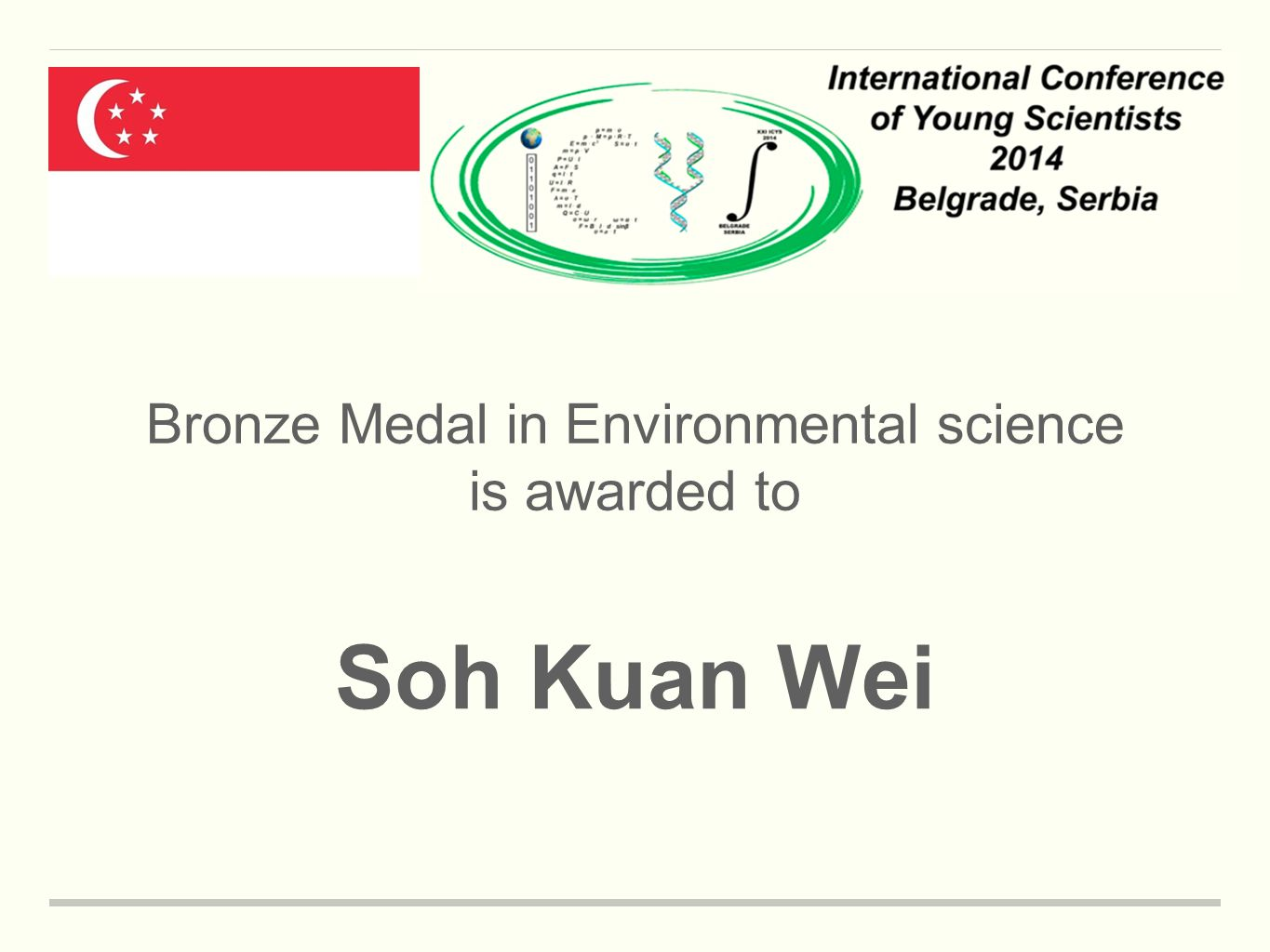 Bronze Medal in Environmental science is awarded to Soh Kuan Wei