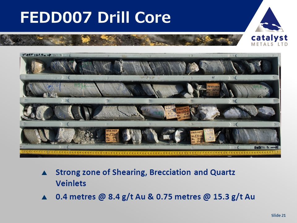 Slide 21 FEDD007 Drill Core Strong zone of Shearing, Brecciation and Quartz Veinlets 0.4 metres @ 8.4 g/t Au & 0.75 metres @ 15.3 g/t Au