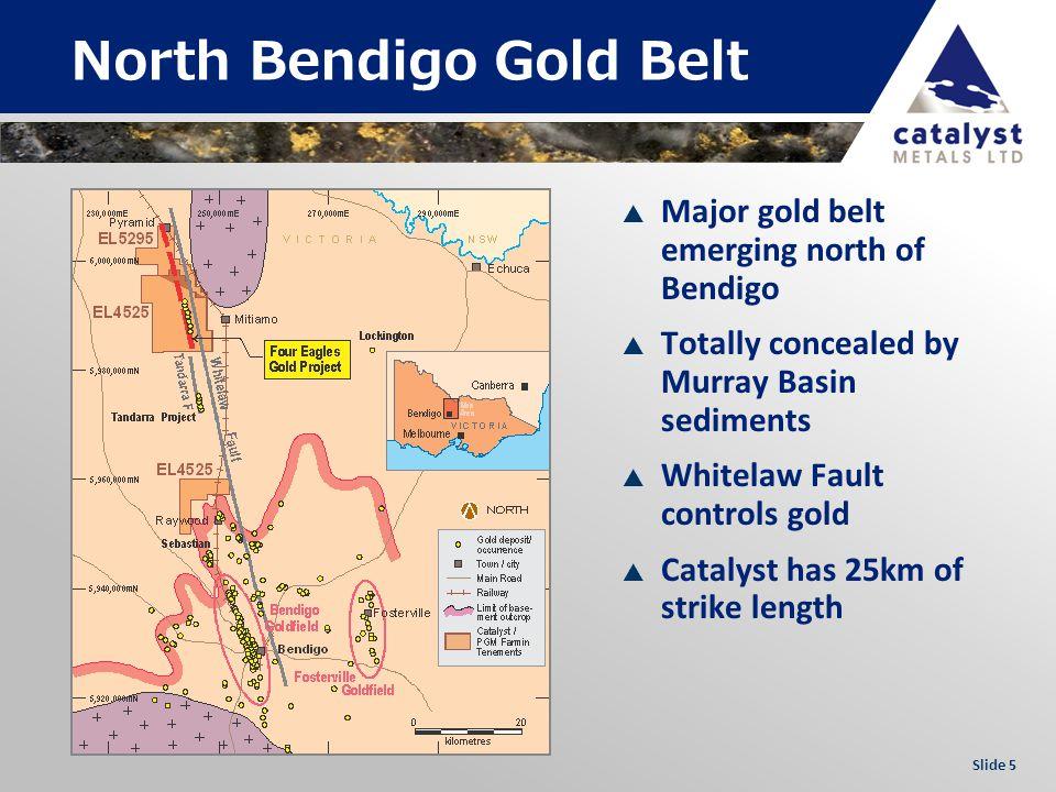 Slide 5 North Bendigo Gold Belt Major gold belt emerging north of Bendigo Totally concealed by Murray Basin sediments Whitelaw Fault controls gold Catalyst has 25km of strike length