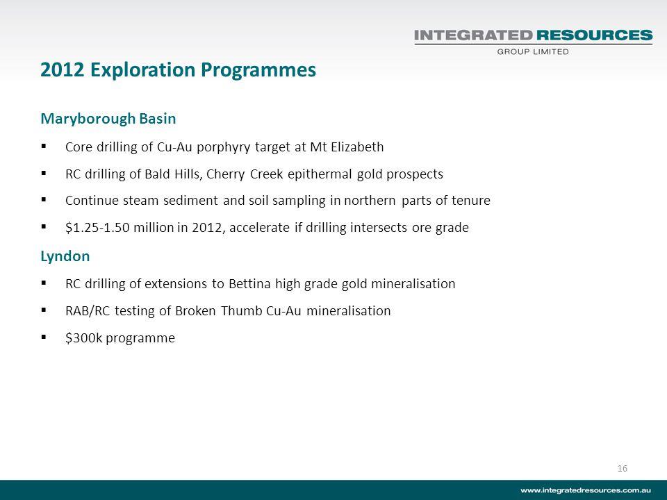 2012 Exploration Programmes Maryborough Basin Core drilling of Cu-Au porphyry target at Mt Elizabeth RC drilling of Bald Hills, Cherry Creek epitherma
