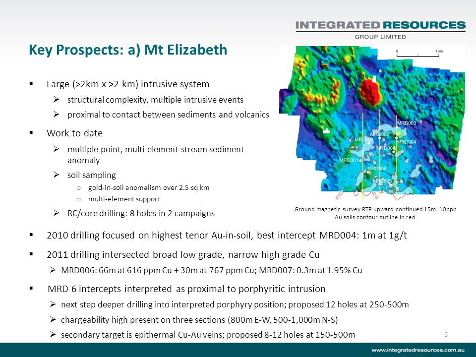 Key Prospects: a) Mt Elizabeth Large (>2km x >2 km) intrusive system structural complexity, multiple intrusive events proximal to contact between sedi