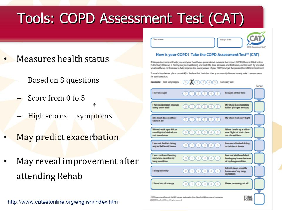 Tools: COPD Assessment Test (CAT) Measures health status – Based on 8 questions – Score from 0 to 5 – High scores = symptoms May predict exacerbation May reveal improvement after attending Rehab http://www.catestonline.org/english/index.htm