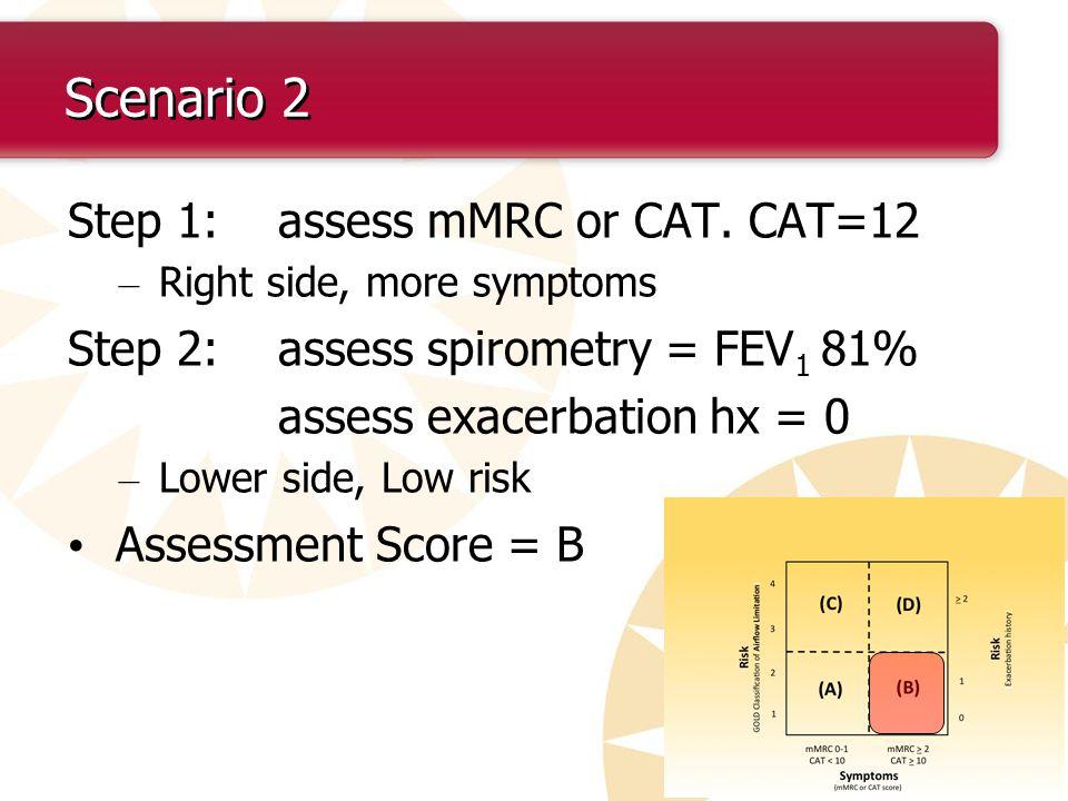 Scenario 2 Step 1: assess mMRC or CAT. CAT=12 – Right side, more symptoms Step 2: assess spirometry = FEV 1 81% assess exacerbation hx = 0 – Lower sid