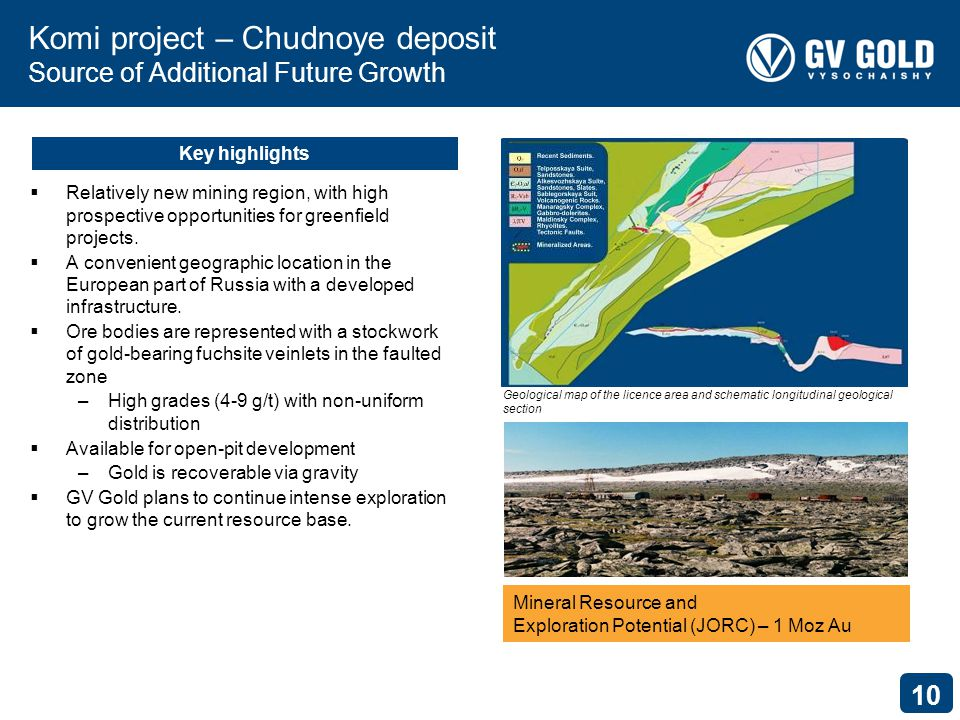 10 Komi project – Chudnoye deposit Source of Additional Future Growth Relatively new mining region, with high prospective opportunities for greenfield projects.