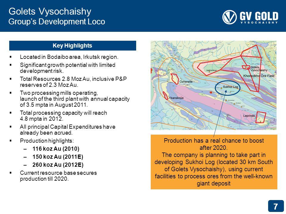 77 Golets Vysochaishy Groups Development Loco Key Highlights Located in Bodaibo area, Irkutsk region.