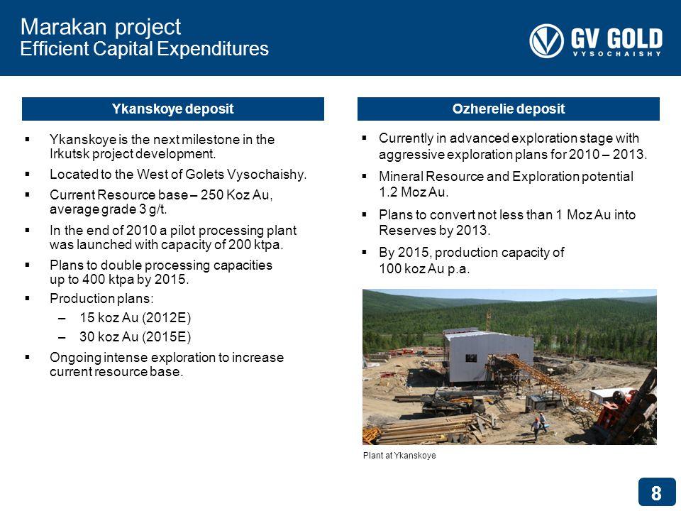 88 Marakan project Efficient Capital Expenditures Ykanskoye is the next milestone in the Irkutsk project development.