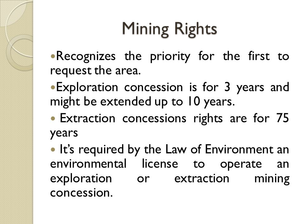 Tax Regime Mining Law 29% net income tax (IRS).5% of net income,tax for communities.