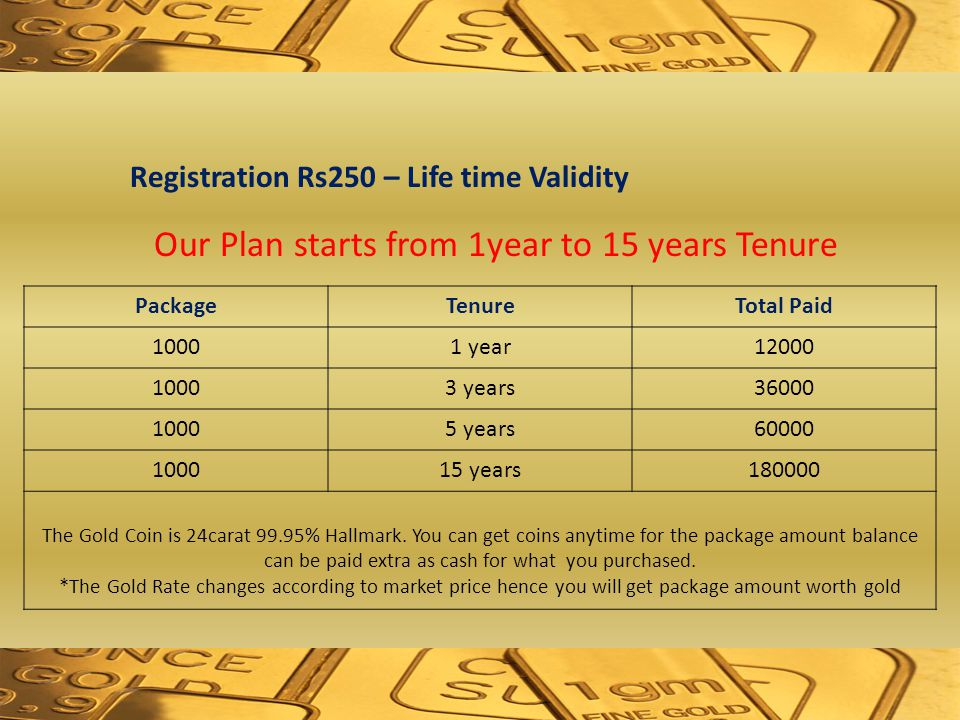 Registration Rs250 – Life time Validity PackageTenureTotal Paid 10001 year12000 10003 years36000 10005 years60000 100015 years180000 The Gold Coin is 24carat 99.95% Hallmark.