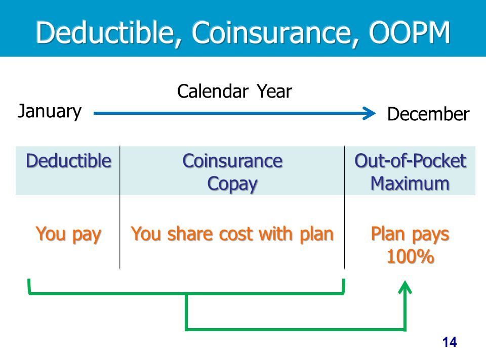 January Calendar Year December Deductible You pay CoinsuranceCopay You share cost with plan Out-of-Pocket Maximum Plan pays 100% 14