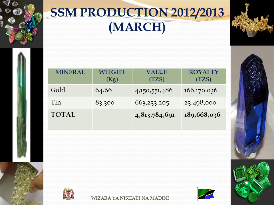 SSM PRODUCTION 2012/2013 (MARCH) MINERALWEIGHT (Kg) VALUE (TZS) ROYALTY (TZS) Gold64.664,150,551,486166,170,036 Tin83,300663,233,20523,498,000 TOTAL 4
