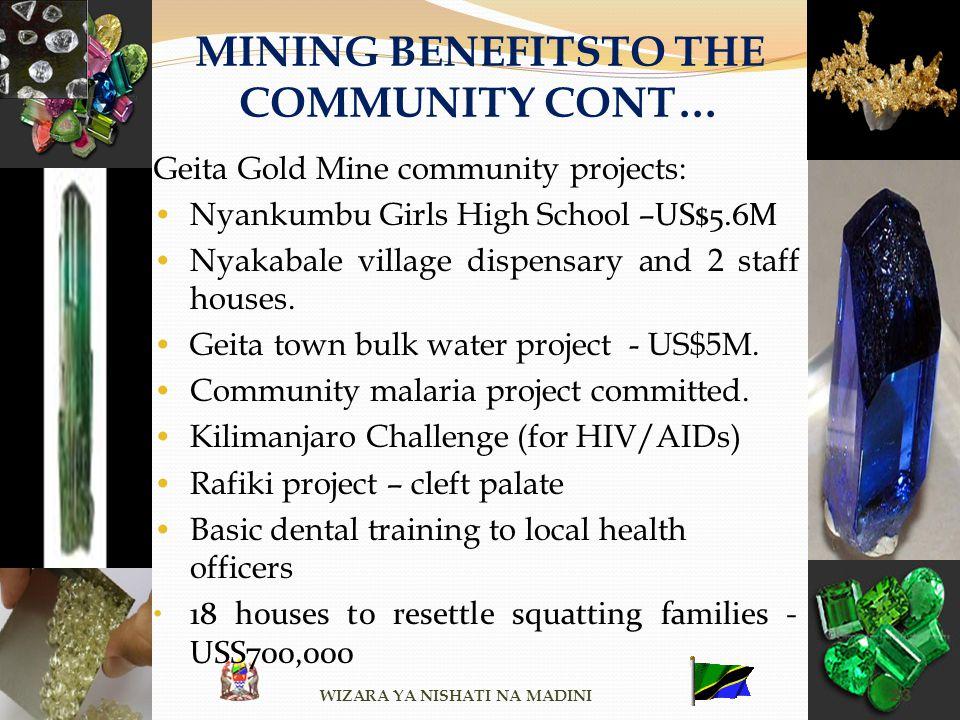 MINING BENEFITSTO THE COMMUNITY CONT… Geita Gold Mine community projects: Nyankumbu Girls High School – US$5.6M Nyakabale village dispensary and 2 sta