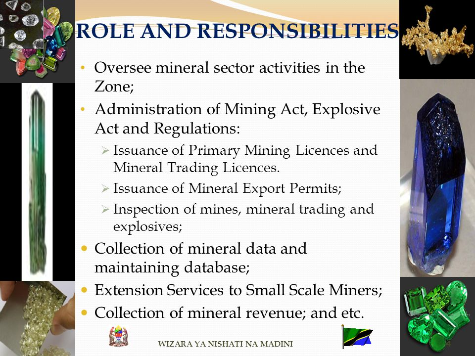 ROLE AND RESPONSIBILITIES Oversee mineral sector activities in the Zone; Administration of Mining Act, Explosive Act and Regulations: Issuance of Prim
