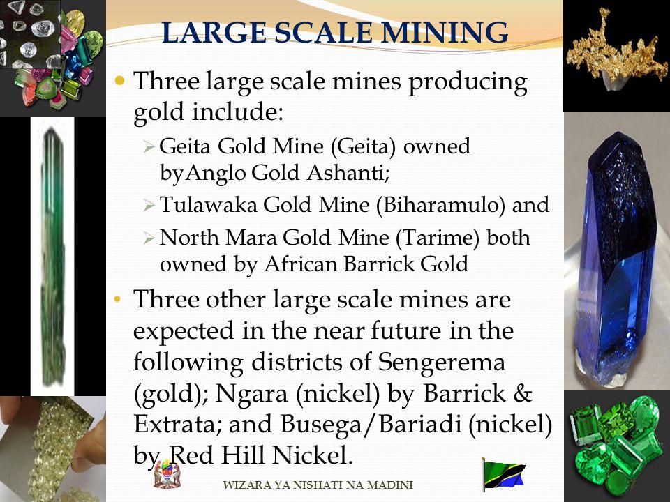 LARGE SCALE MINING Three large scale mines producing gold include: Geita Gold Mine (Geita) owned byAnglo Gold Ashanti; Tulawaka Gold Mine (Biharamulo)