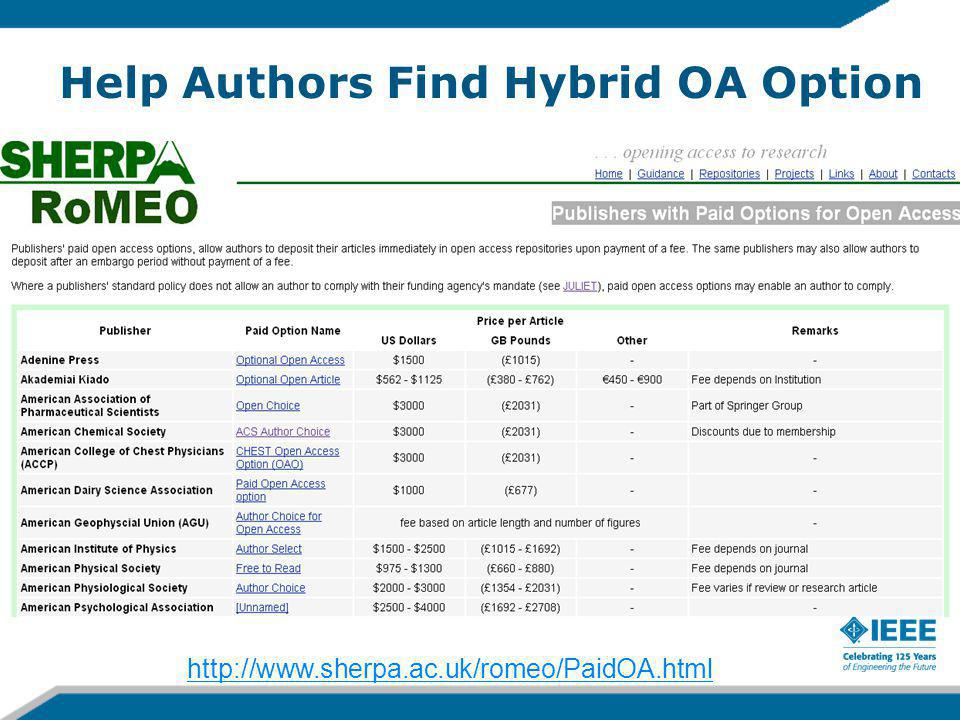 Help Authors Find Hybrid OA Option http://www.sherpa.ac.uk/romeo/PaidOA.html