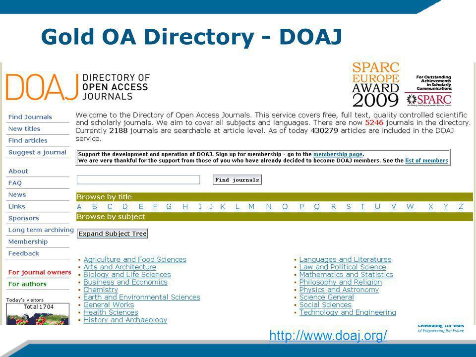Gold OA Directory - DOAJ http://www.doaj.org/