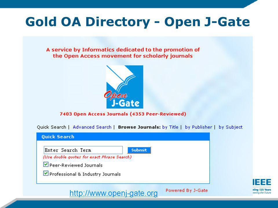 Gold OA Directory - Open J-Gate http://www.openj-gate.org