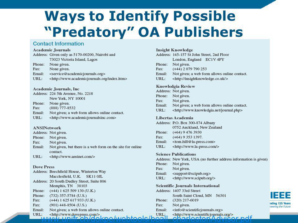 Ways to Identify Possible Predatory OA Publishers