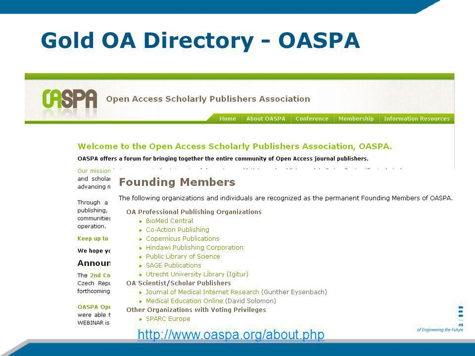 Gold OA Directory - OASPA http://www.oaspa.org/about.php