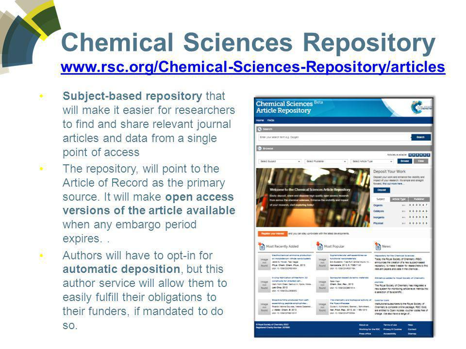Chemical Sciences Repository www.rsc.org/Chemical-Sciences-Repository/articles www.rsc.org/Chemical-Sciences-Repository/articles Subject-based reposit