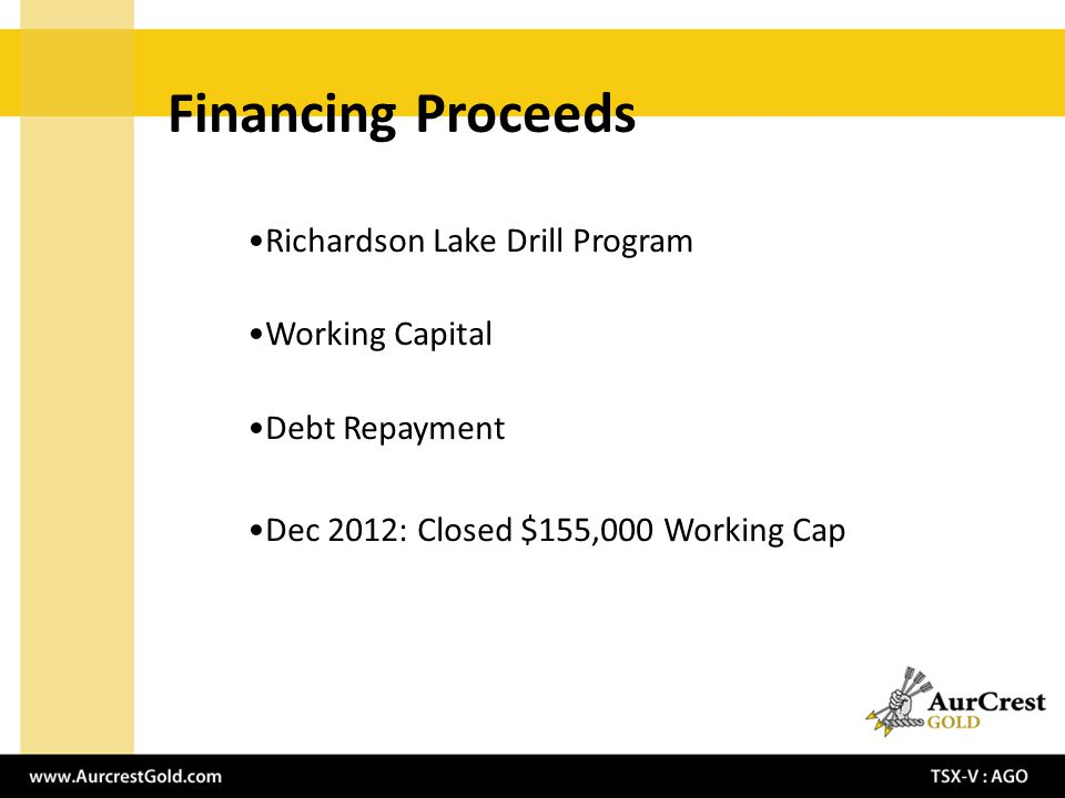 Financing Proceeds Richardson Lake Drill Program Working Capital Debt Repayment Dec 2012: Closed $155,000 Working Cap