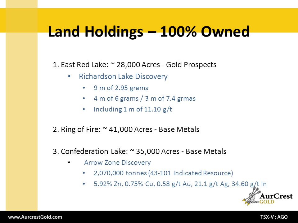 1. East Red Lake: ~ 28,000 Acres - Gold Prospects Richardson Lake Discovery 9 m of 2.95 grams 4 m of 6 grams / 3 m of 7.4 grmas Including 1 m of 11.10