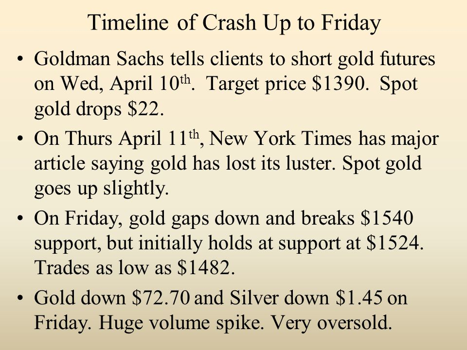 Timeline of Crash Up to Friday Goldman Sachs tells clients to short gold futures on Wed, April 10 th.