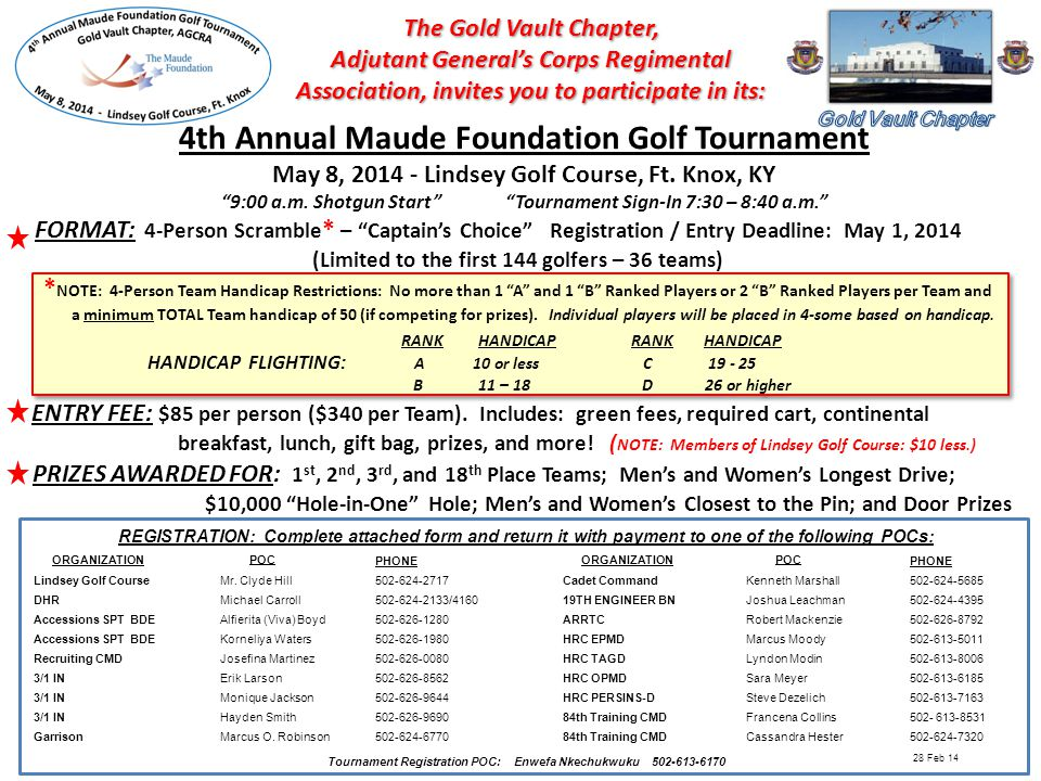 REGISTRATION FORM Maude Foundation Golf Tournament: May 8, 2014 - Lindsey Golf Course, Ft.