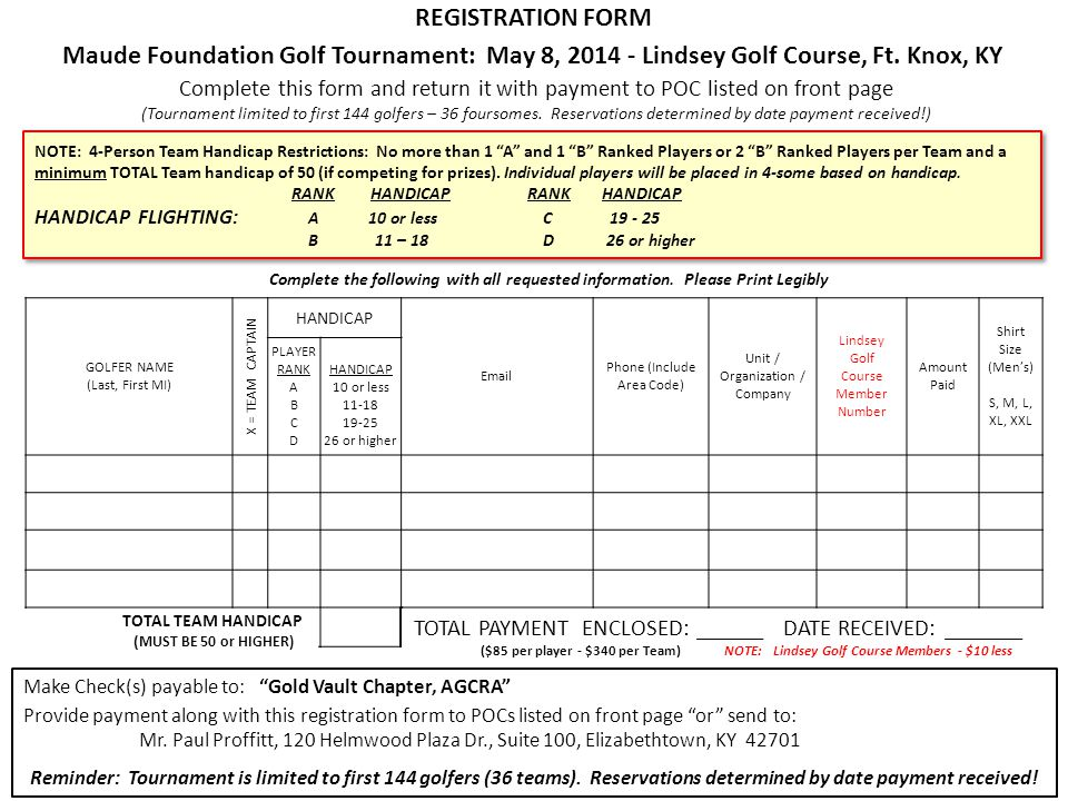 REGISTRATION FORM Maude Foundation Golf Tournament: May 8, Lindsey Golf Course, Ft.