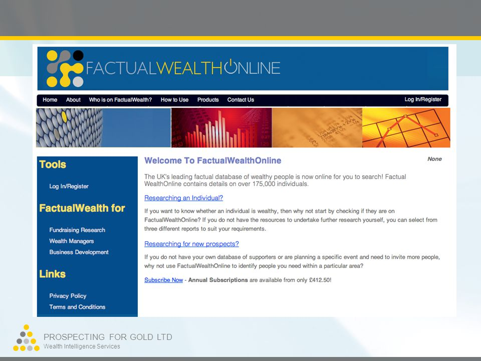 PROSPECTING FOR GOLD LTD Wealth Intelligence Services Individual search