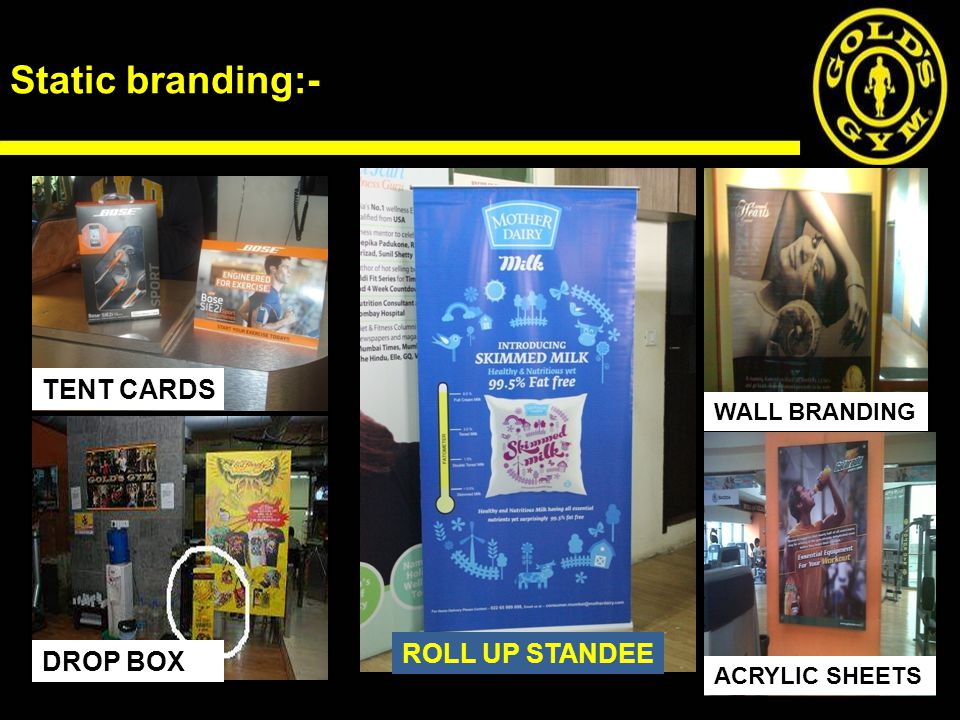 Static branding:- TENT CARDS DROP BOX ROLL UP STANDEE WALL BRANDING ACRYLIC SHEETS